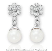 Diamond & 14k White Gold Fresh Water Pearl Earrings
