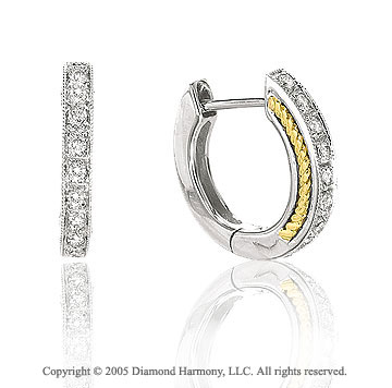 Diamond Two Tone Milgrain Deco Earrings
