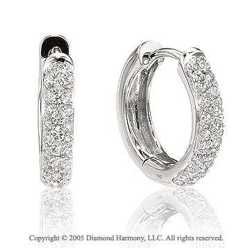 0.38  Carat Diamond 14k Cluster Huggie Earrings