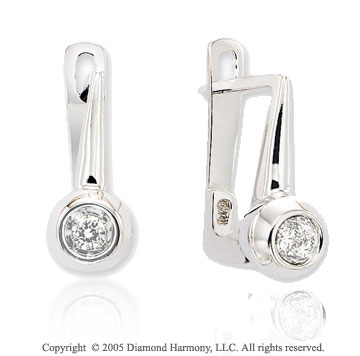 Diamond 14k White Gold Bezel Solitaire Earrings