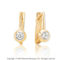 Diamond 14k Yellow Gold Bezel Solitaire Drop Earrings