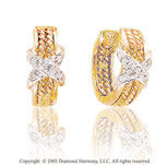 Diamond 14k Two Tone X Huggie Earrings