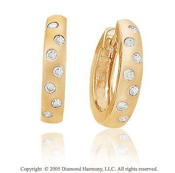 1/4  Carat Diamond 14k Yellow Gold Bezel Huggie Earrings