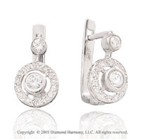 1/2  Carat Diamond 14k Bezel Deco Drop Earrings