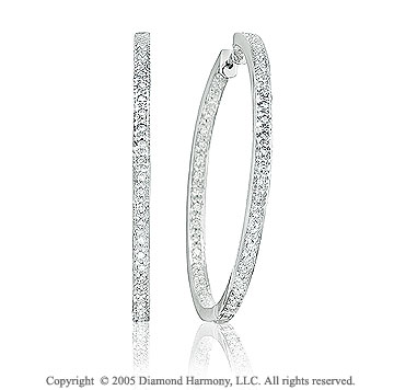 14k White Gold 2 Side 1 Carat Diamond 1 1/2in Hoop Earrings