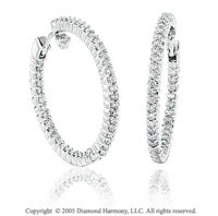 14k White Gold Double Side 1.60  Carat Diamond Hoop Earrings