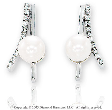 Diamond & Fresh Water Pearl 14k White Gold Earrings