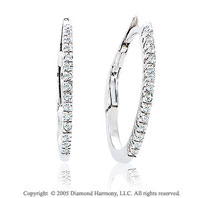 14k White Gold Snap Back .20  Carat Diamond Hoop Earrings