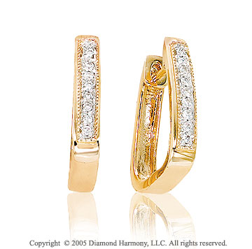 14k Diamond Yellow Gold Milgrain Huggie Earrings