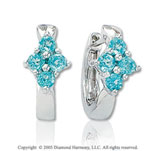 0.70  Carat 14k Blue Topaz Four Stone Huggie Earrings