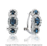 1.70  Carat 14k Diamond Blue Sapphire 3 Stone Oval Vintage Huggie Earrings