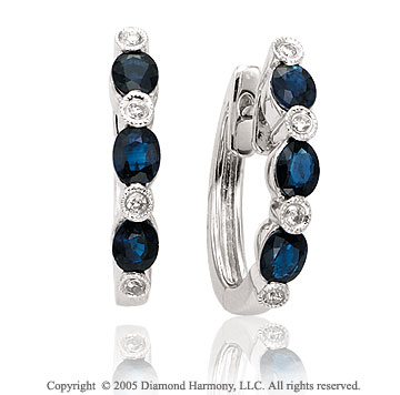 1.62  Carat 14k Diamond Blue Sapphire Past Present Future Bezel Huggie Earrings