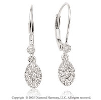 14k Diamond White Gold Bezel Deco Style Tear Dangle Earrings