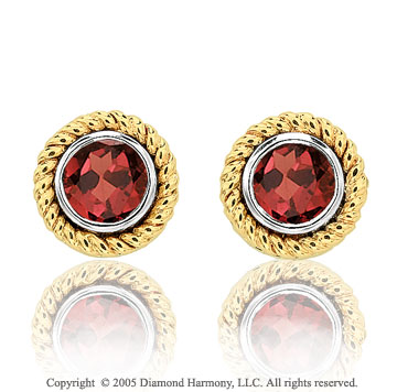 50's Style 1.25  Carat Garnet 14k Two Tone Bezel Stud Earrings