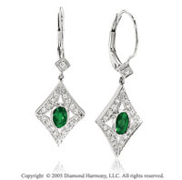 0.70  Carat Diamond Oval Emerald Antique Style Drop Earrings