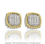 Diamond 14k Two Tone Vintage Style Stud Earrings