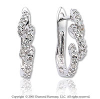 Diamond 14k White Gold Triple Twirl Huggie Earrings