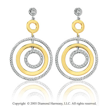14k TwoTone Gold Diamond Triple Circle of Life Earrings