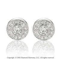 0.55  Carat Diamond Bezel 50's Style Stud Earrings