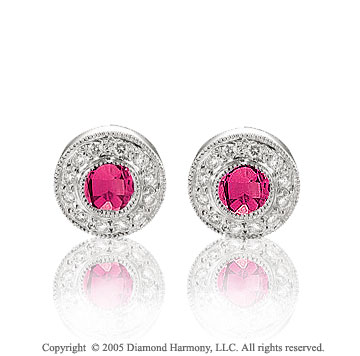 50's Style 0.85  Carat Diamond Ruby Bezel Stud Earrings