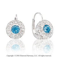 0.90  Carat Diamond Blue Topaz Bezel 50s Style Earrings