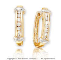 1/4  Carat Diamond 14k 2 Tone Channel Dbl Bar Huggie Earrings