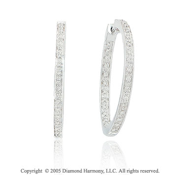14k White Gold Double Side .50  Carat Diamond Hoop Earrings