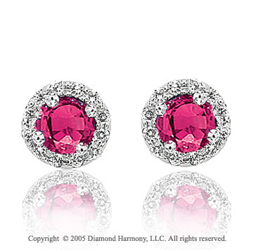 50s Style 0.90  Carat Diamond Ruby Stud Earrings