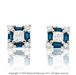 1.00  Carat 14k Diamond Blue Sapphire Princess Stud Earrings