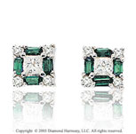 0.75  Carat 14k Diamond Emerald Princess Classic Stud Earrings