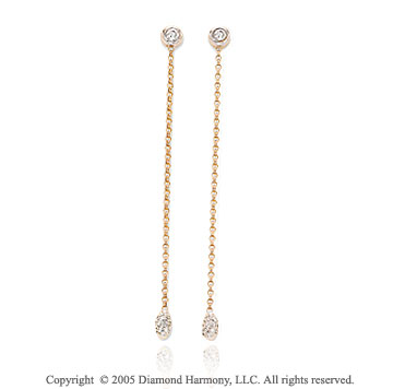 Diamond 14k Two Tone Pave Stiletto Drop Earrings