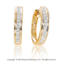 1 4 Carat Diamond 14k Yellow Gold Huggie Earrings
