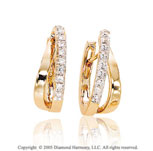 Diamond 14k Yellow Gold Pave Double Huggie Earrings
