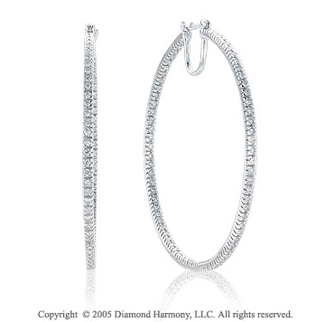 14k White Gold Double Side 1.50  Carat Diamond Hoop Earrings