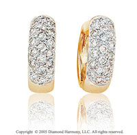 0.85 Carat Diamond 14k Yellow Gold Huggie Earrings