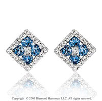 14k 1/2  Carat Diamond Blue Sapphire Deco Style Flower Stud Earrings