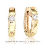 Diamond 14k Yellow Gold Channel Solitaire Huggie Earrings