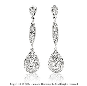 1/2 Carat Diamond 14k Over 1 Inch Pave Deco Style Tear Drop Earrings