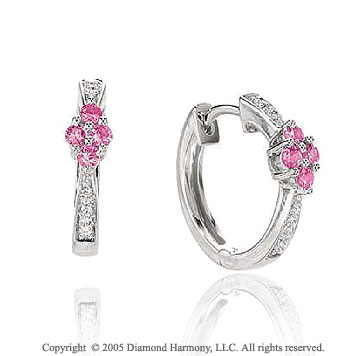 1/2  Carat 14k Diamond Pink Sapphire Flower Huggie Earrings