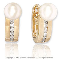 1/4 Carat Diamond & Fresh Water Pearl 14k Yellow Gold Earrings