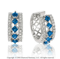 1.10  Carat Diamond Blue Sapphire Princess Vintage Inspired Huggie Earrings