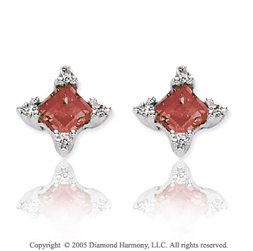 0.95  Carat 14k Diamond Garnet Princess Classic Stud Earrings