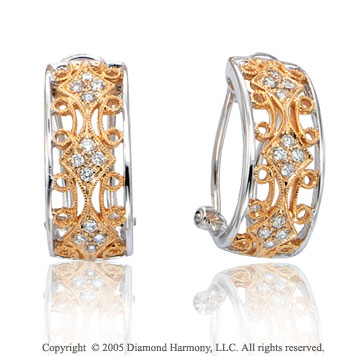 14k Diamond Two Tone Filigree Vintage Deco Style J Hoop Earrings