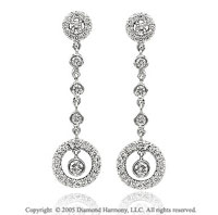 14k White Gold 0.70 Carat Diamond Circle of Life Drop Earrings