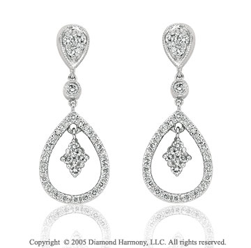 0.65  Carat Diamond White Gold Tear Drop Earrings