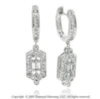 .50  Carat Diamond Pave Milgrain Deco Style Drop Earrings