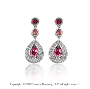 1.30  Carat Diamond Pink Topaz Vintage Inspired Tear Drop Earrings