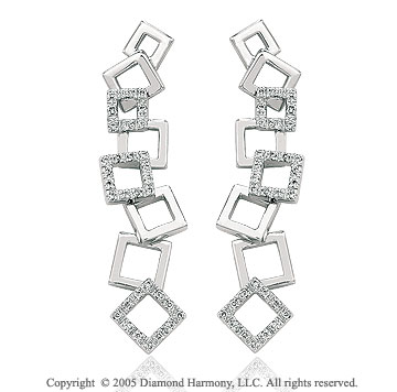 0.30  Carat Diamond Pave Square Drop Earrings