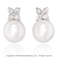 1/4 Carat Diamond & Fresh Water Pearl 14k White Gold Studs