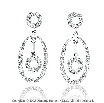0.35  Carat Pave Diamond Open Oval Dangling Earrings